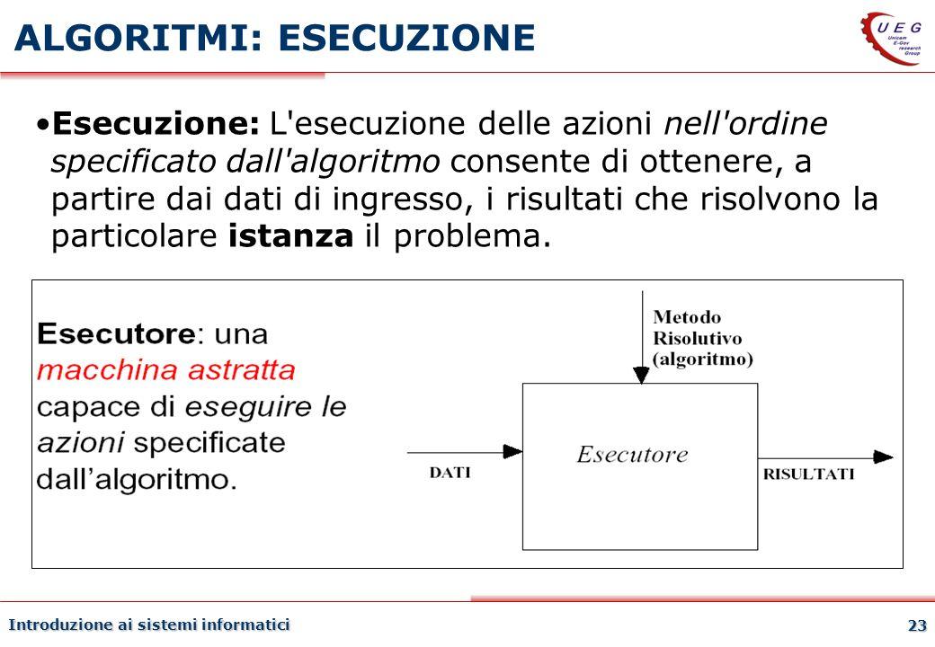 Introduzione ai sistemi informatici 23 ALGORITMI: ESECUZIONE Esecuzione: L'esecuzione delle azioni nell'ordine specificato dall'algoritmo consente di
