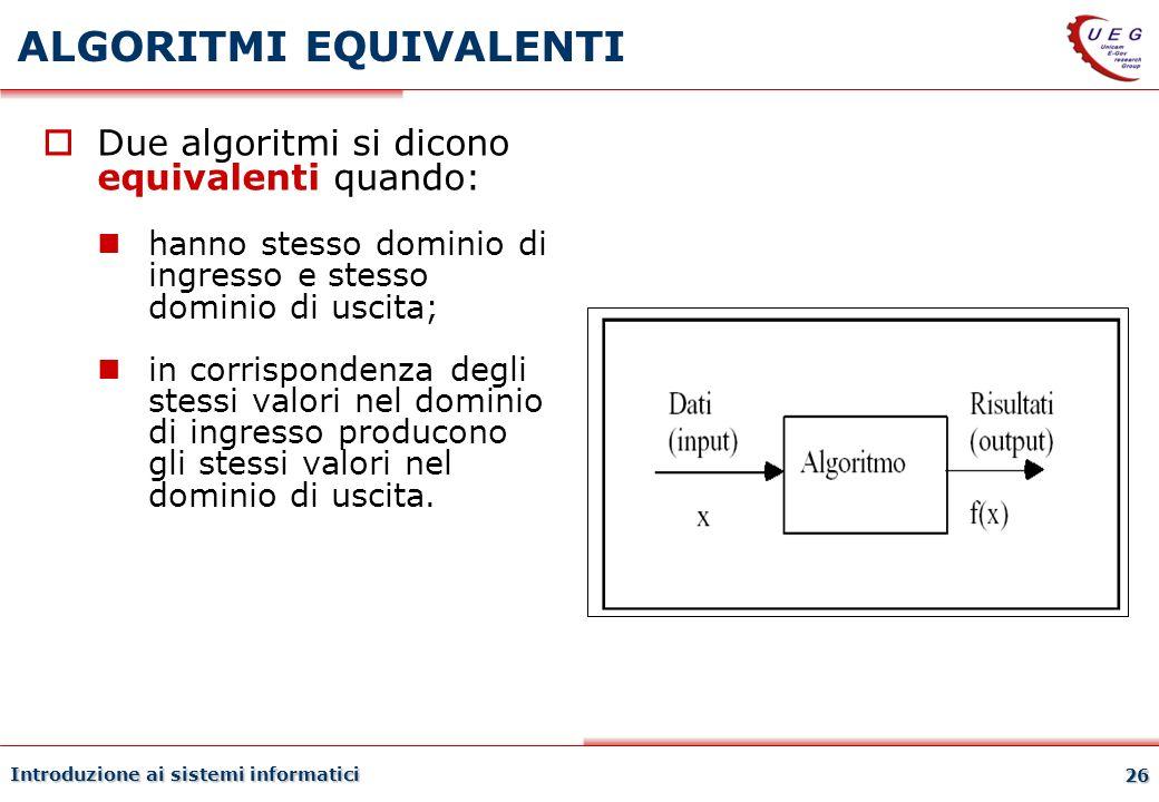 Introduzione ai sistemi informatici 26 ALGORITMI EQUIVALENTI Due algoritmi si dicono equivalenti quando: hanno stesso dominio di ingresso e stesso dom