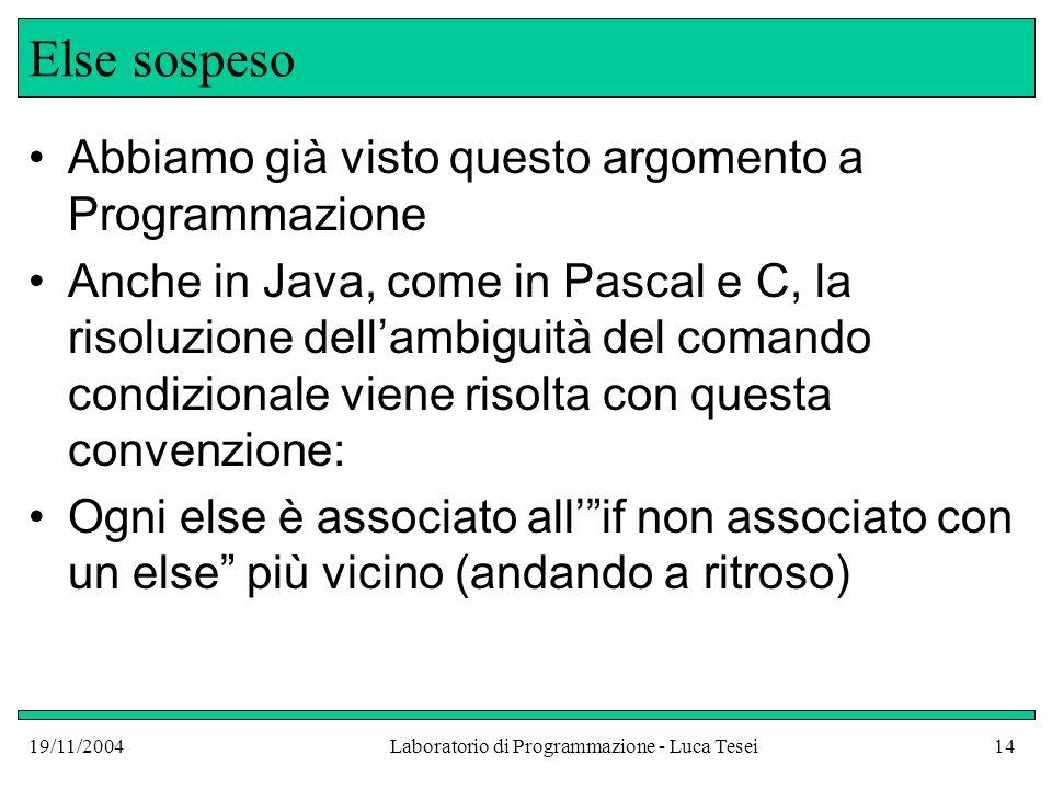 19/11/2004Laboratorio di Programmazione - Luca Tesei14 Else sospeso Abbiamo già visto questo argomento a Programmazione Anche in Java, come in Pascal