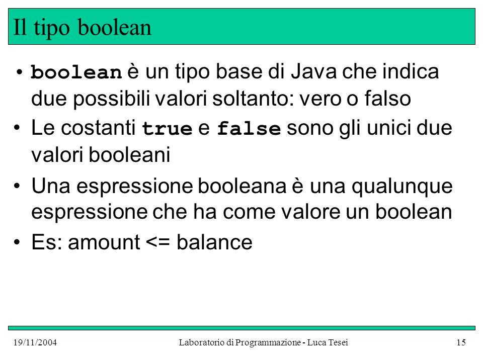 19/11/2004Laboratorio di Programmazione - Luca Tesei15 Il tipo boolean boolean è un tipo base di Java che indica due possibili valori soltanto: vero o