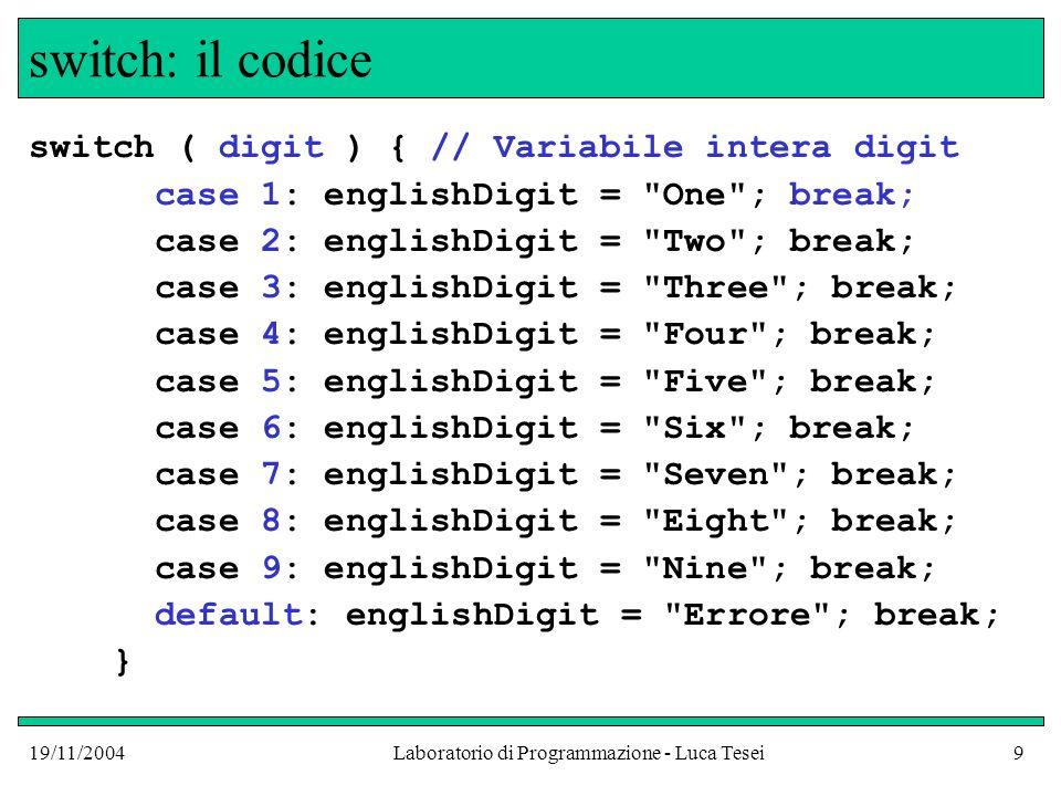 19/11/2004Laboratorio di Programmazione - Luca Tesei9 switch: il codice switch ( digit ) { // Variabile intera digit case 1: englishDigit =
