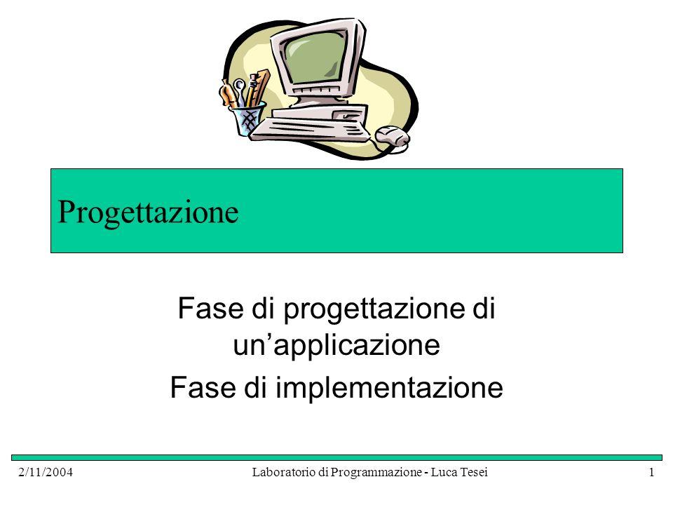 2/11/2004Laboratorio di Programmazione - Luca Tesei1 Progettazione Fase di progettazione di unapplicazione Fase di implementazione