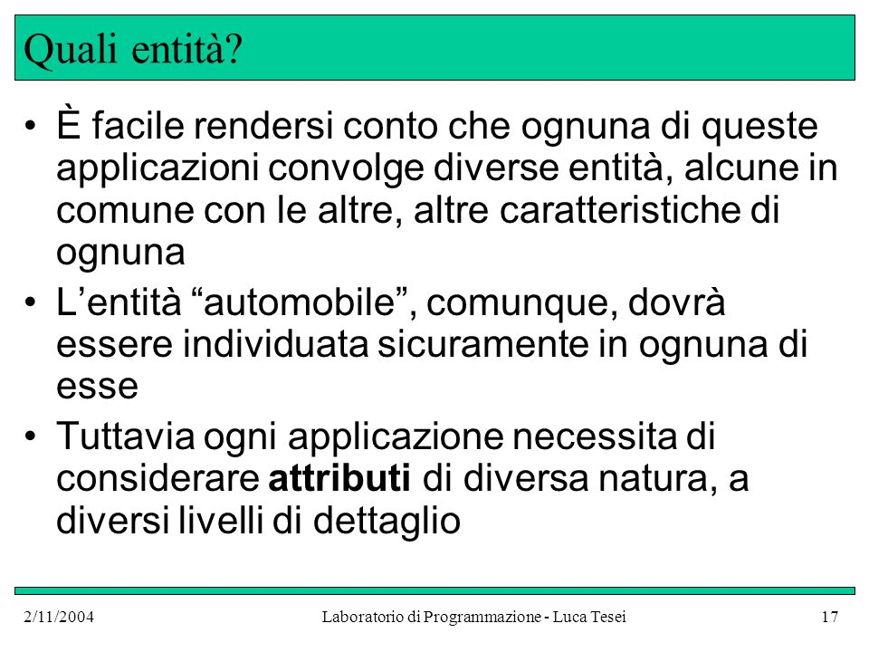2/11/2004Laboratorio di Programmazione - Luca Tesei17 Quali entità.