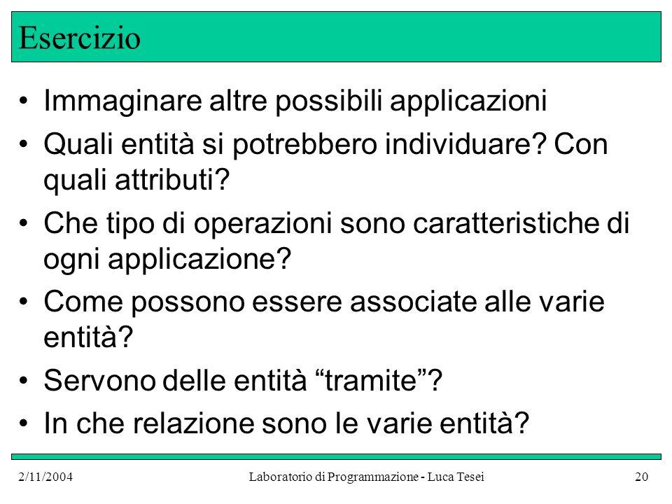 2/11/2004Laboratorio di Programmazione - Luca Tesei20 Esercizio Immaginare altre possibili applicazioni Quali entità si potrebbero individuare.