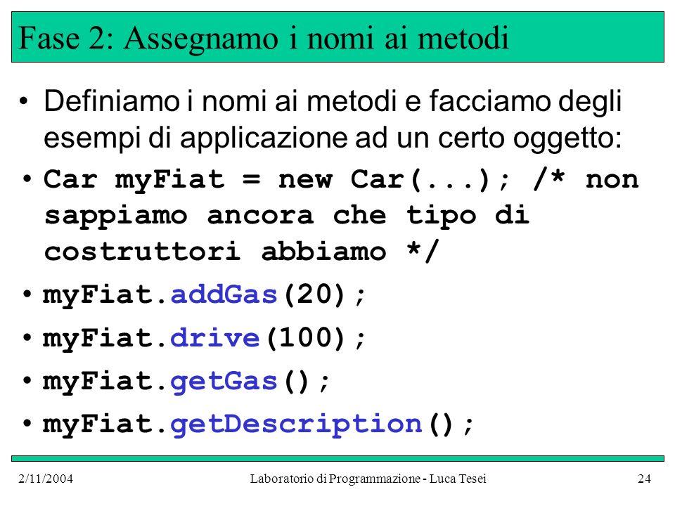 2/11/2004Laboratorio di Programmazione - Luca Tesei24 Fase 2: Assegnamo i nomi ai metodi Definiamo i nomi ai metodi e facciamo degli esempi di applicazione ad un certo oggetto: Car myFiat = new Car(...); /* non sappiamo ancora che tipo di costruttori abbiamo */ myFiat.addGas(20); myFiat.drive(100); myFiat.getGas(); myFiat.getDescription();