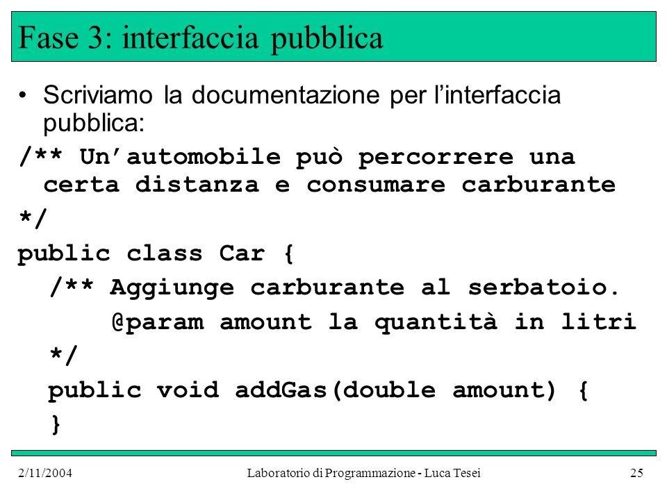 2/11/2004Laboratorio di Programmazione - Luca Tesei25 Fase 3: interfaccia pubblica Scriviamo la documentazione per linterfaccia pubblica: /** Unautomobile può percorrere una certa distanza e consumare carburante */ public class Car { /** Aggiunge carburante al serbatoio.