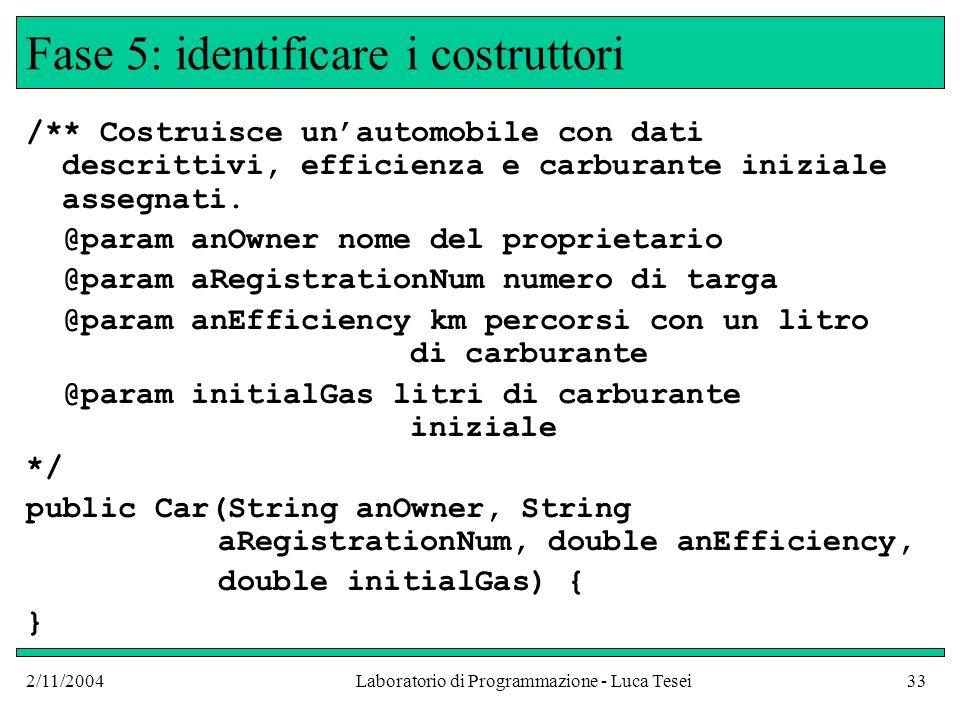 2/11/2004Laboratorio di Programmazione - Luca Tesei33 Fase 5: identificare i costruttori /** Costruisce unautomobile con dati descrittivi, efficienza e carburante iniziale assegnati.