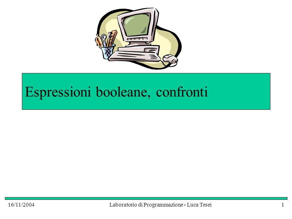 16/11/2004Laboratorio di Programmazione - Luca Tesei12 Confronto di Stringhe System.out.println( Inserisci una stringa ); String pippo = console.readLine(); System.out.println( Inserisci una seconda stringa per il confronto ); String pluto = console.readLine(); if ( pippo == pluto ) System.out.println( Confronto con == : Stringhe Uguali ); else System.out.println( Confronto con == : Stringhe Diverse ); if ( pippo.equals(pluto) ) System.out.println( Confronto con metodo equals: Stringhe + Uguali ); else System.out.println( Confronto con metodo equals: Stringhe + Diverse ); Inserendo due stringhe uguali il primo confronto fallisce, mentre il secondo ha successo