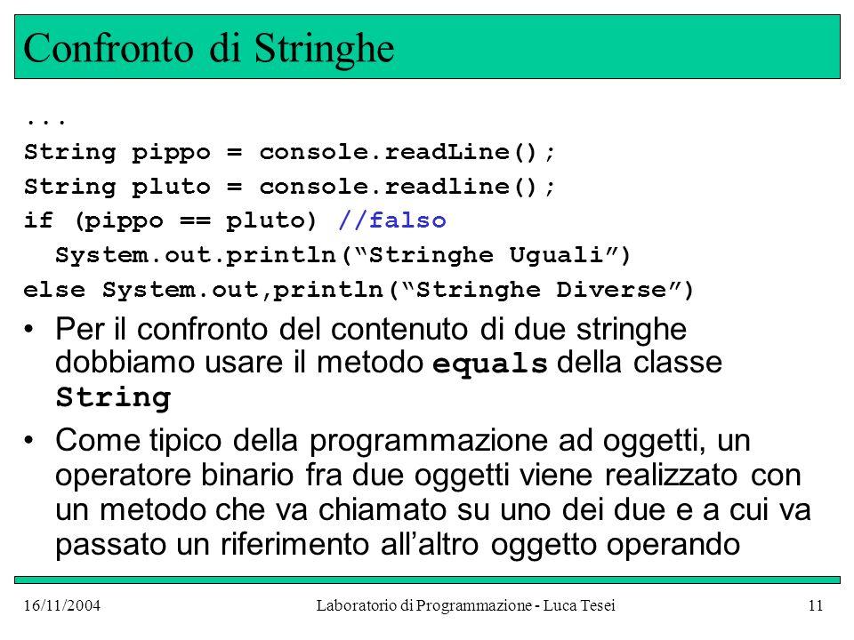 16/11/2004Laboratorio di Programmazione - Luca Tesei11 Confronto di Stringhe...