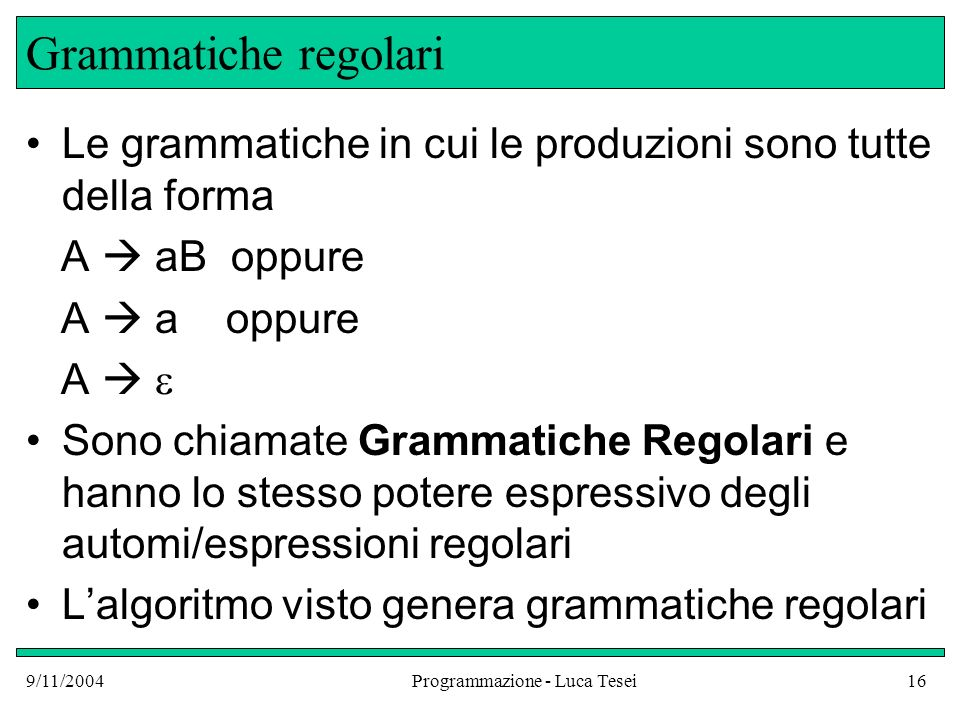 9/11/2004Programmazione - Luca Tesei16 Grammatiche regolari Le grammatiche in cui le produzioni sono tutte della forma A aB oppure A a oppure A Sono c