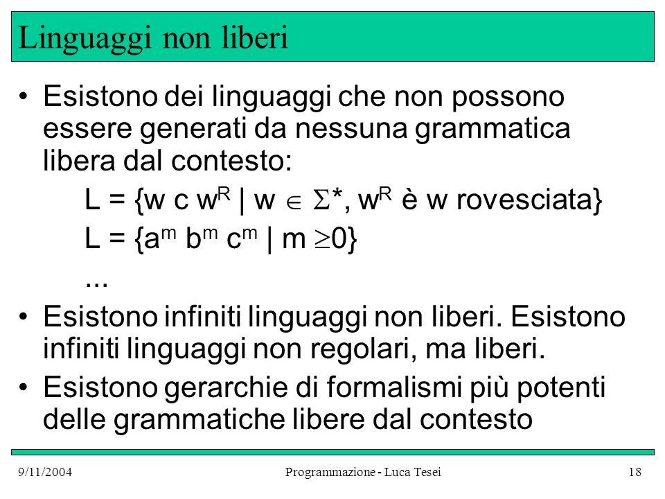 9/11/2004Programmazione - Luca Tesei18 Linguaggi non liberi Esistono dei linguaggi che non possono essere generati da nessuna grammatica libera dal co