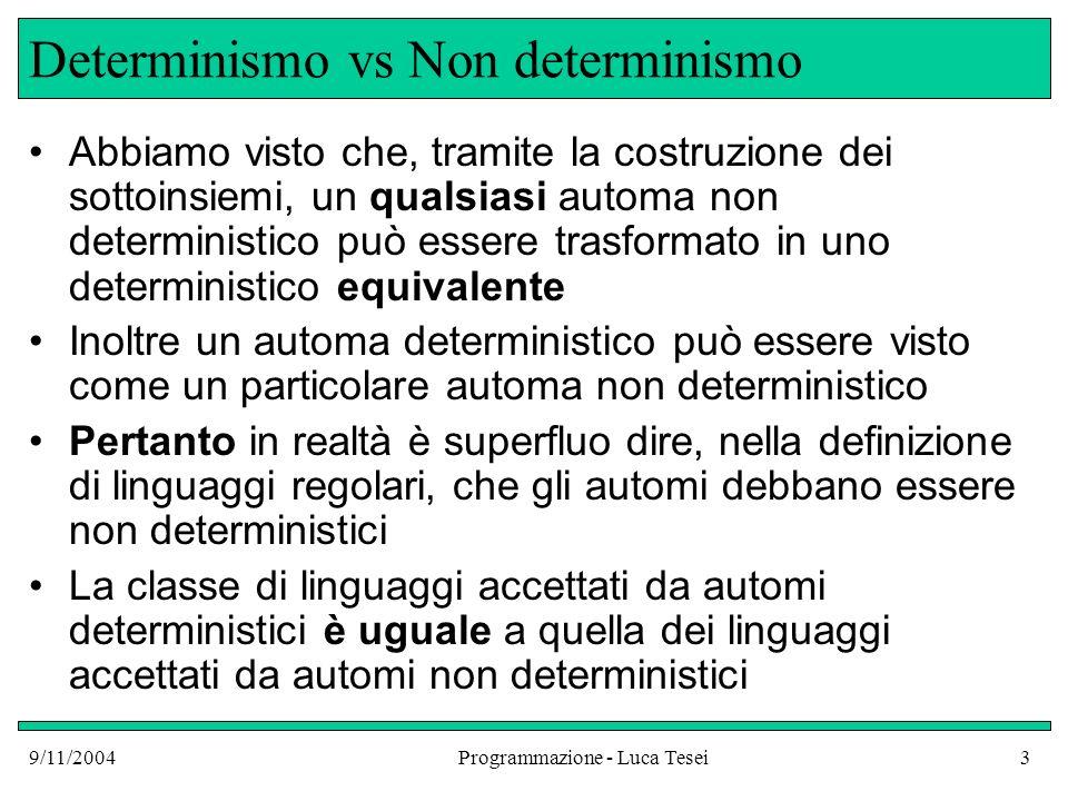 9/11/2004Programmazione - Luca Tesei4 Potere espressivo In questo caso si dice che i due formalismi, gli automi deterministici e non deterministici, hanno lo stesso potere espressivo Oltre a quello degli automi deterministici, anche il formalismo delle espressioni regolari ha lo stesso potere espressivo degli automi non deterministici Una costruzione per costruire un NFA a partire da una qualsiasi espressione regolare si vedrà nel corso di Compilatori