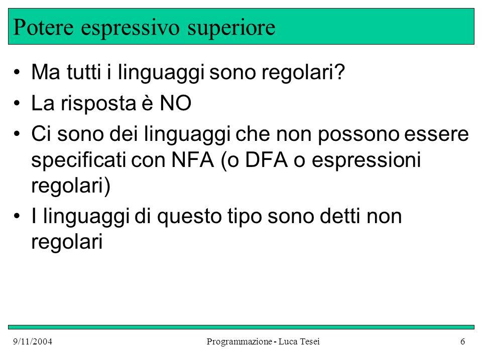 9/11/2004Programmazione - Luca Tesei6 Potere espressivo superiore Ma tutti i linguaggi sono regolari? La risposta è NO Ci sono dei linguaggi che non p