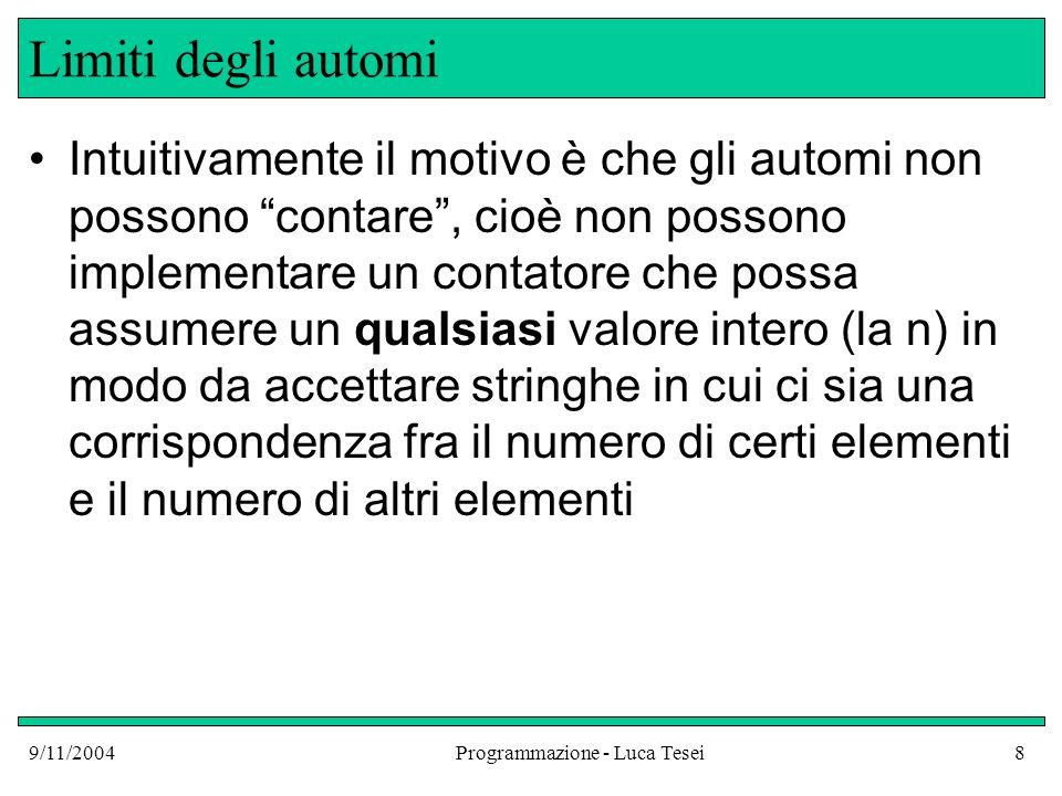 9/11/2004Programmazione - Luca Tesei19 Potere Espressivo delle grammatiche Linguaggi Regolari Universo dei linguaggi Linguaggi generati da grammatiche libere L = { a n b n | n 0 } L = {a m b m c m | m 0 }