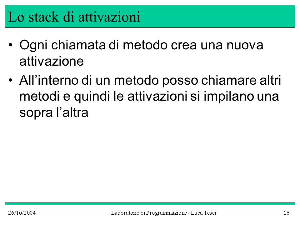 26/10/2004Laboratorio di Programmazione - Luca Tesei16 Lo stack di attivazioni Ogni chiamata di metodo crea una nuova attivazione Allinterno di un metodo posso chiamare altri metodi e quindi le attivazioni si impilano una sopra laltra