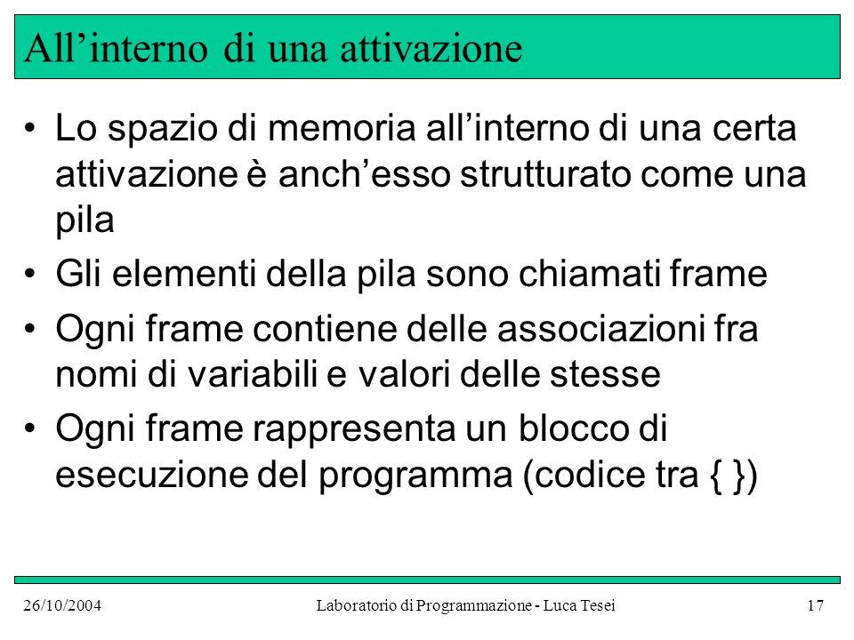 26/10/2004Laboratorio di Programmazione - Luca Tesei17 Allinterno di una attivazione Lo spazio di memoria allinterno di una certa attivazione è anches