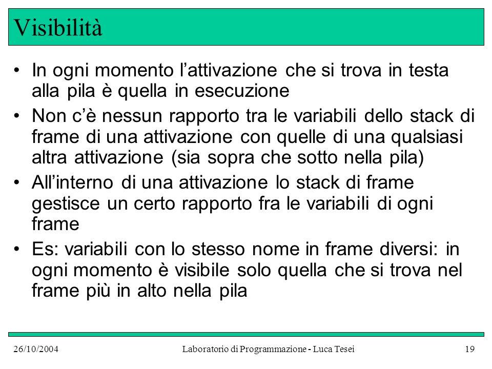 26/10/2004Laboratorio di Programmazione - Luca Tesei19 Visibilità In ogni momento lattivazione che si trova in testa alla pila è quella in esecuzione