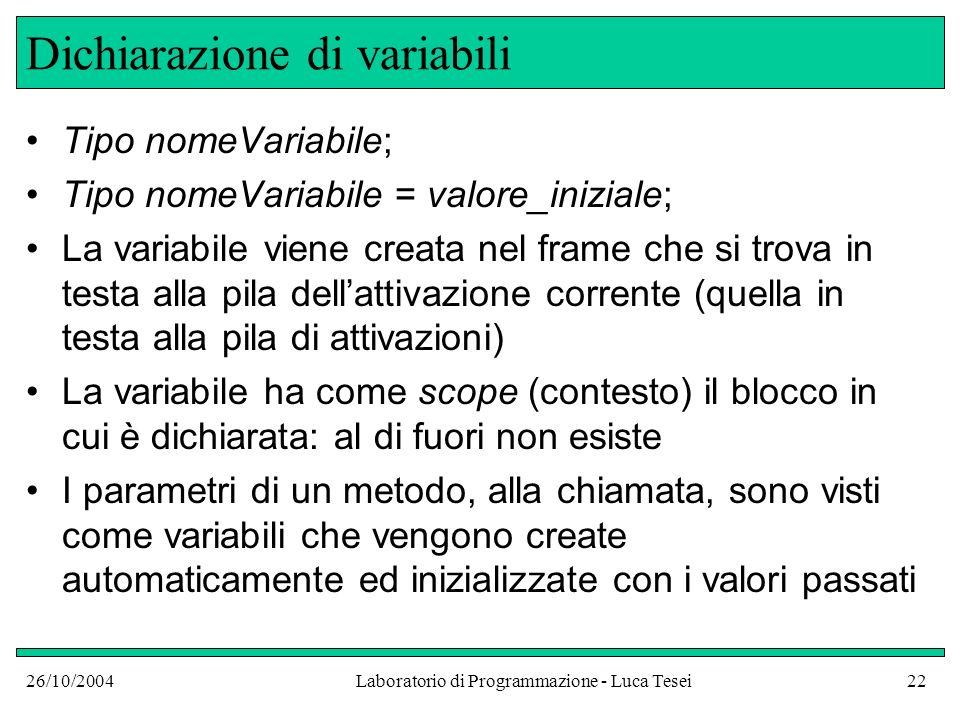 26/10/2004Laboratorio di Programmazione - Luca Tesei22 Dichiarazione di variabili Tipo nomeVariabile; Tipo nomeVariabile = valore_iniziale; La variabi