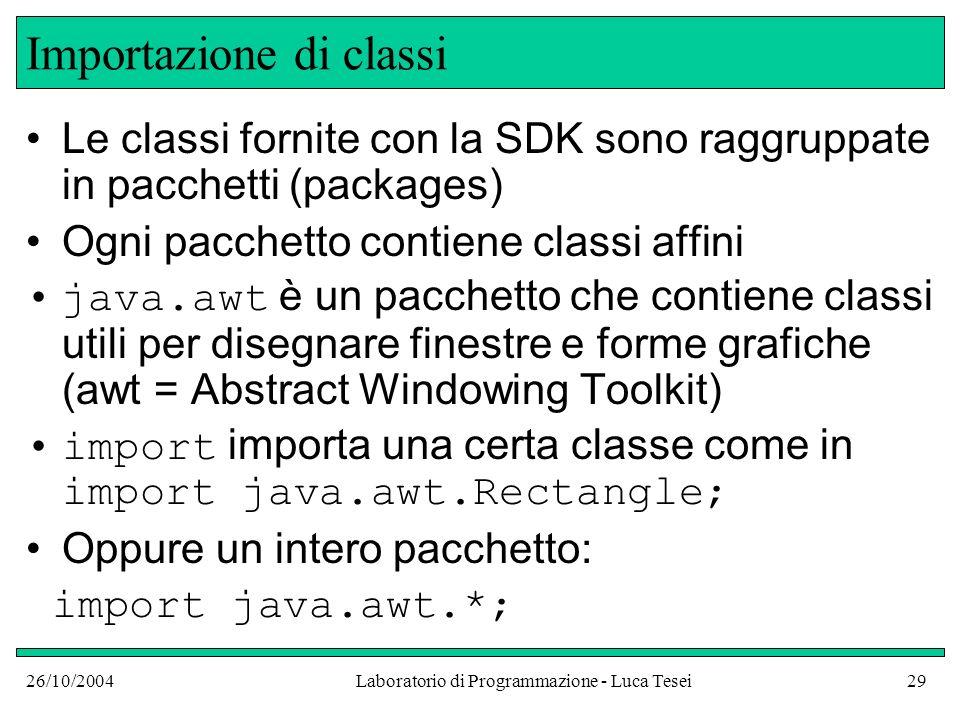 26/10/2004Laboratorio di Programmazione - Luca Tesei29 Importazione di classi Le classi fornite con la SDK sono raggruppate in pacchetti (packages) Ogni pacchetto contiene classi affini java.awt è un pacchetto che contiene classi utili per disegnare finestre e forme grafiche (awt = Abstract Windowing Toolkit) import importa una certa classe come in import java.awt.Rectangle; Oppure un intero pacchetto: import java.awt.*;