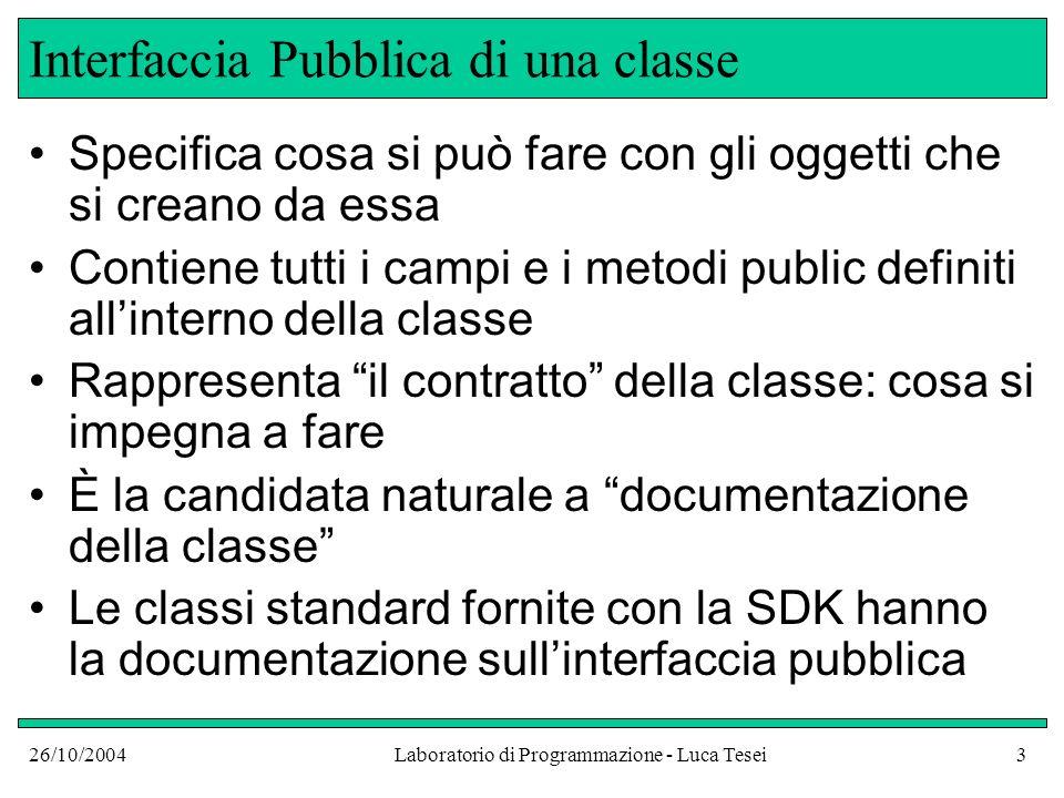 26/10/2004Laboratorio di Programmazione - Luca Tesei3 Interfaccia Pubblica di una classe Specifica cosa si può fare con gli oggetti che si creano da e