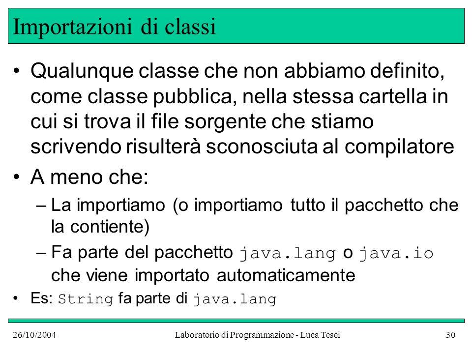 26/10/2004Laboratorio di Programmazione - Luca Tesei30 Importazioni di classi Qualunque classe che non abbiamo definito, come classe pubblica, nella s