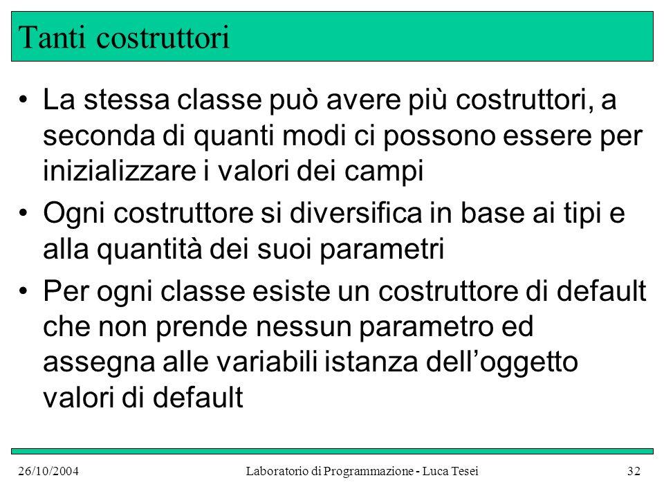 26/10/2004Laboratorio di Programmazione - Luca Tesei32 Tanti costruttori La stessa classe può avere più costruttori, a seconda di quanti modi ci posso