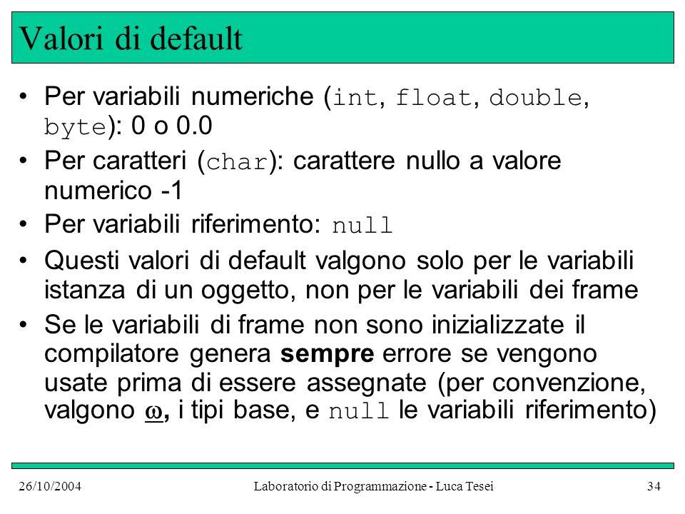 26/10/2004Laboratorio di Programmazione - Luca Tesei34 Valori di default Per variabili numeriche ( int, float, double, byte ): 0 o 0.0 Per caratteri ( char ): carattere nullo a valore numerico -1 Per variabili riferimento: null Questi valori di default valgono solo per le variabili istanza di un oggetto, non per le variabili dei frame Se le variabili di frame non sono inizializzate il compilatore genera sempre errore se vengono usate prima di essere assegnate (per convenzione, valgono, i tipi base, e null le variabili riferimento)