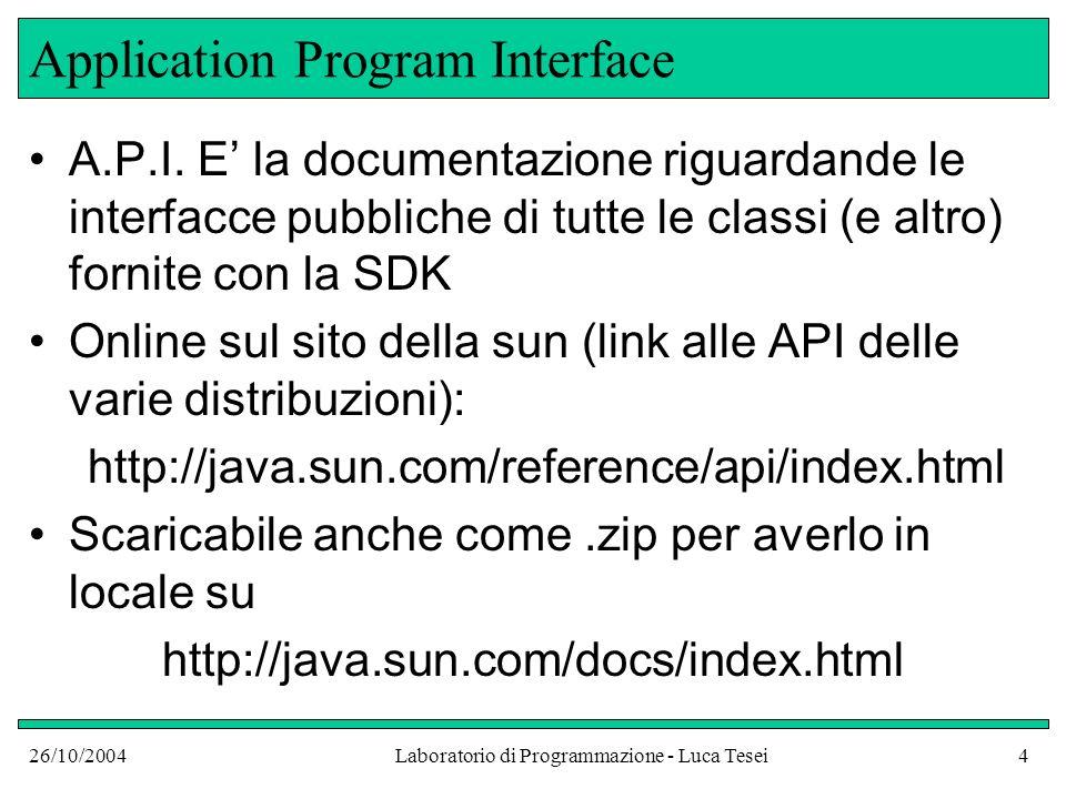 26/10/2004Laboratorio di Programmazione - Luca Tesei4 Application Program Interface A.P.I. E la documentazione riguardande le interfacce pubbliche di