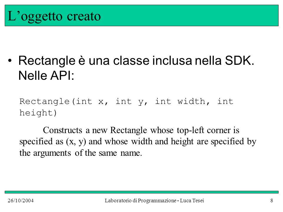 26/10/2004Laboratorio di Programmazione - Luca Tesei8 Loggetto creato Rectangle è una classe inclusa nella SDK. Nelle API: Rectangle(int x, int y, int