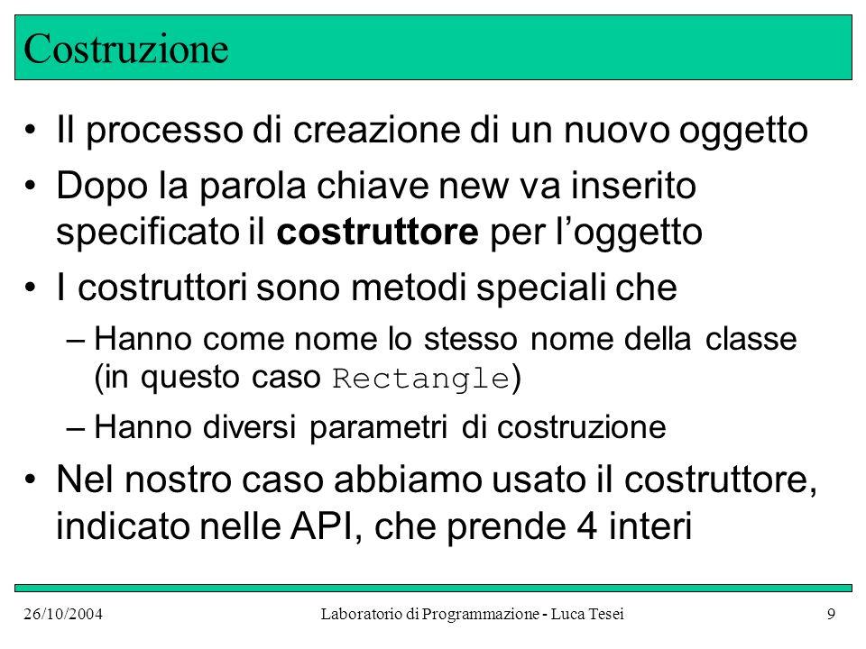 26/10/2004Laboratorio di Programmazione - Luca Tesei9 Costruzione Il processo di creazione di un nuovo oggetto Dopo la parola chiave new va inserito s