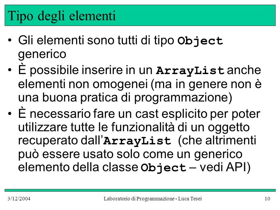 3/12/2004Laboratorio di Programmazione - Luca Tesei10 Tipo degli elementi Gli elementi sono tutti di tipo Object generico È possibile inserire in un A