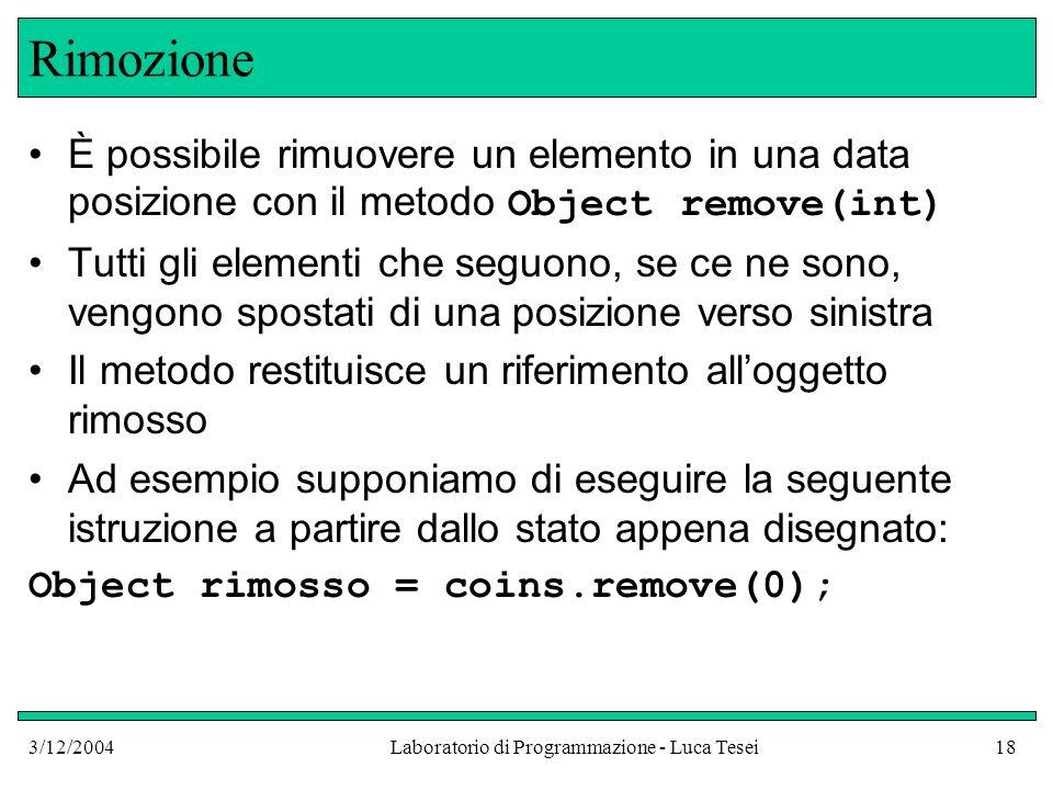 3/12/2004Laboratorio di Programmazione - Luca Tesei18 Rimozione È possibile rimuovere un elemento in una data posizione con il metodo Object remove(in