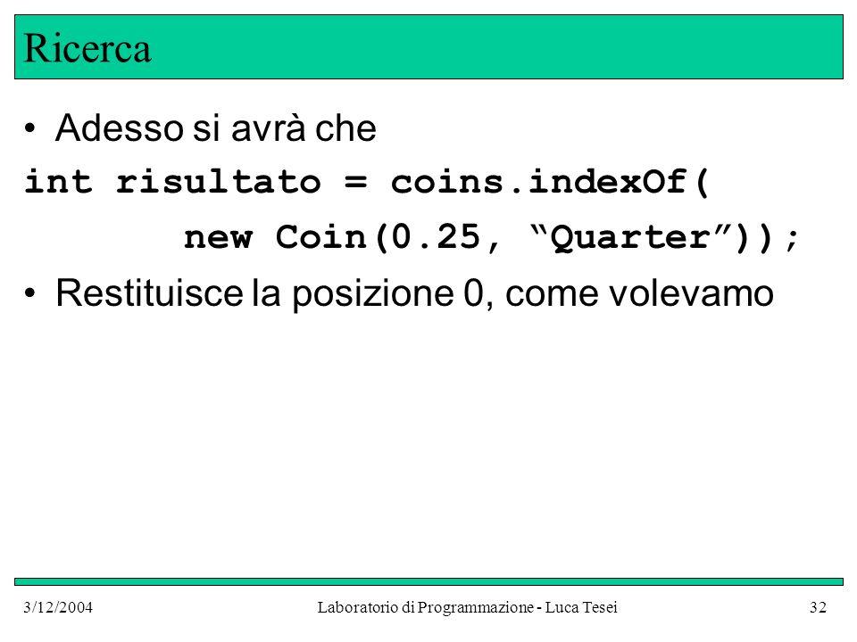 3/12/2004Laboratorio di Programmazione - Luca Tesei32 Ricerca Adesso si avrà che int risultato = coins.indexOf( new Coin(0.25, Quarter)); Restituisce