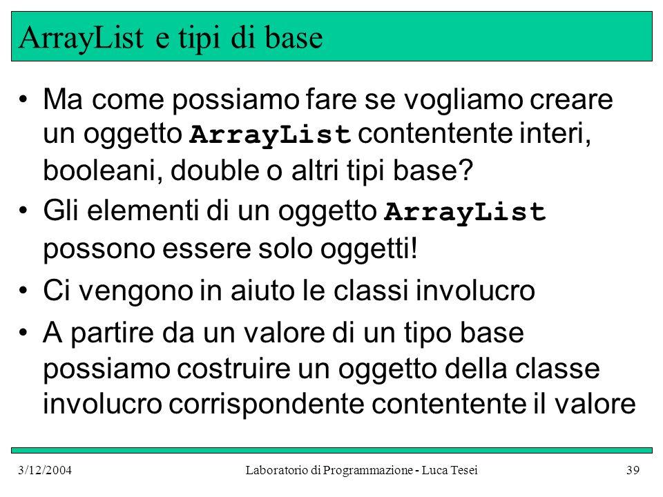 3/12/2004Laboratorio di Programmazione - Luca Tesei39 ArrayList e tipi di base Ma come possiamo fare se vogliamo creare un oggetto ArrayList contenten