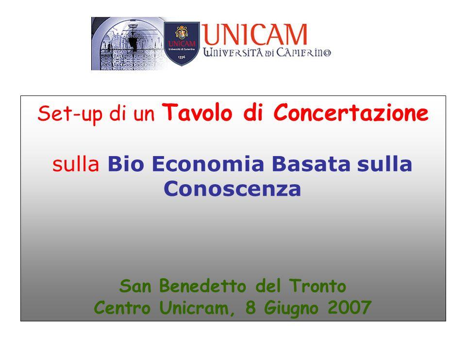 Set-up di un Tavolo di Concertazione sulla Bio Economia Basata sulla Conoscenza San Benedetto del Tronto Centro Unicram, 8 Giugno 2007