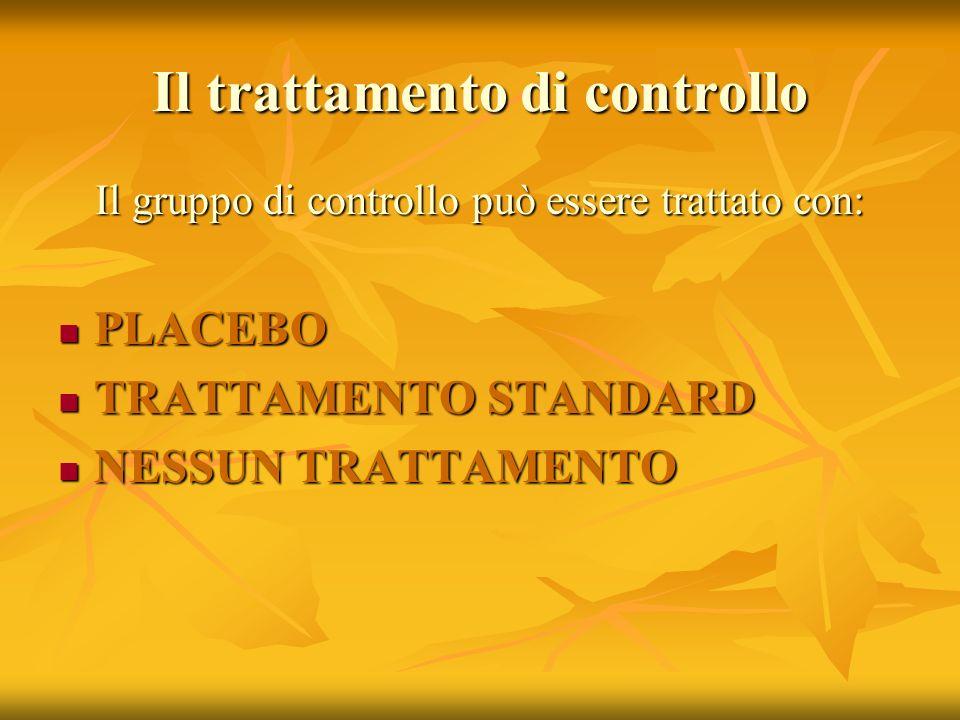 Il trattamento di controllo Il gruppo di controllo può essere trattato con: PLACEBO PLACEBO TRATTAMENTO STANDARD TRATTAMENTO STANDARD NESSUN TRATTAMEN