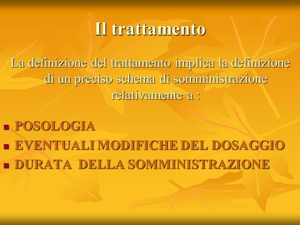 Il trattamento La definizione del trattamento implica la definizione di un preciso schema di somministrazione relativamente a : POSOLOGIA POSOLOGIA EV