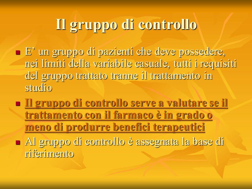 Il gruppo di controllo E un gruppo di pazienti che deve possedere, nei limiti della variabile casuale, tutti i requisiti del gruppo trattato tranne il