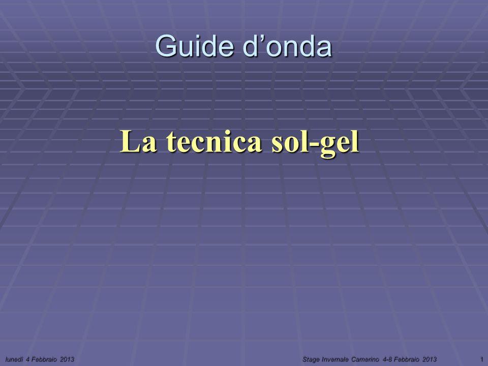 lunedì 4 Febbraio 2013Stage Invernale Camerino 4-8 Febbraio 20131 La tecnica sol-gel Guide donda