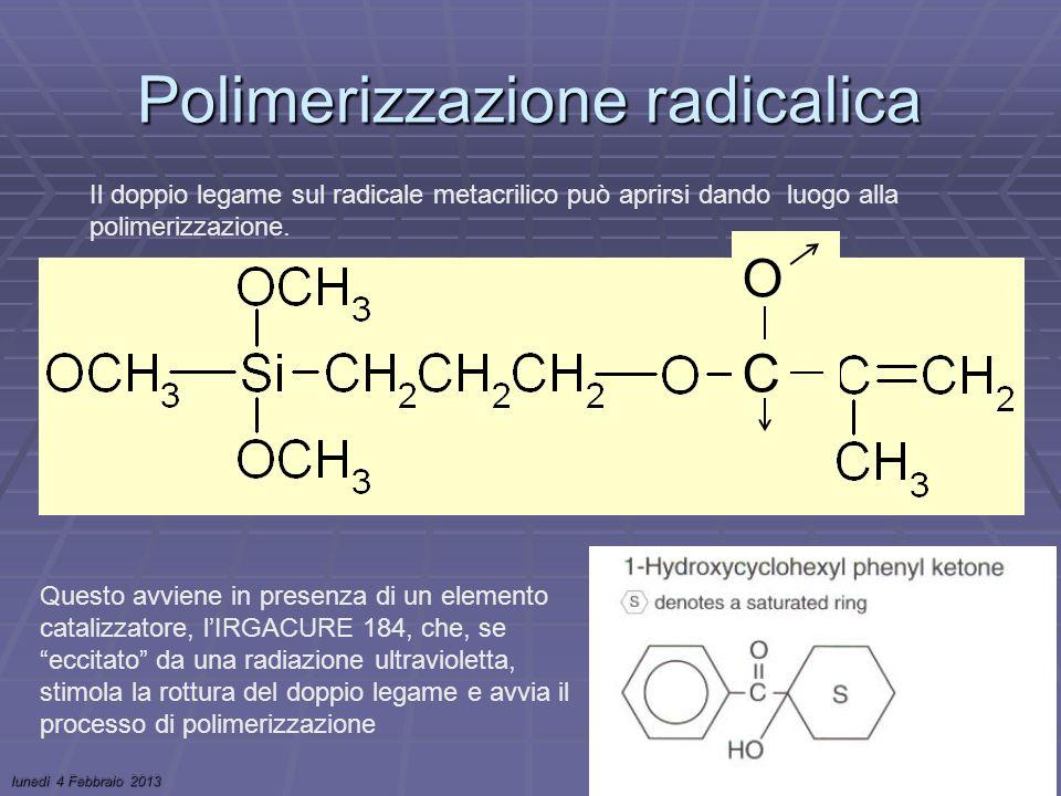 lunedì 4 Febbraio 2013Stage Invernale Camerino 4-8 Febbraio 201325 Polimerizzazione radicalica Il doppio legame sul radicale metacrilico può aprirsi dando luogo alla polimerizzazione.