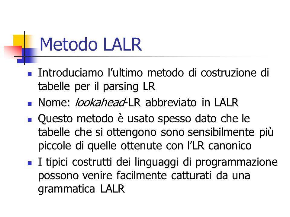 Tabelle LALR Costruzione delle tabelle LALR