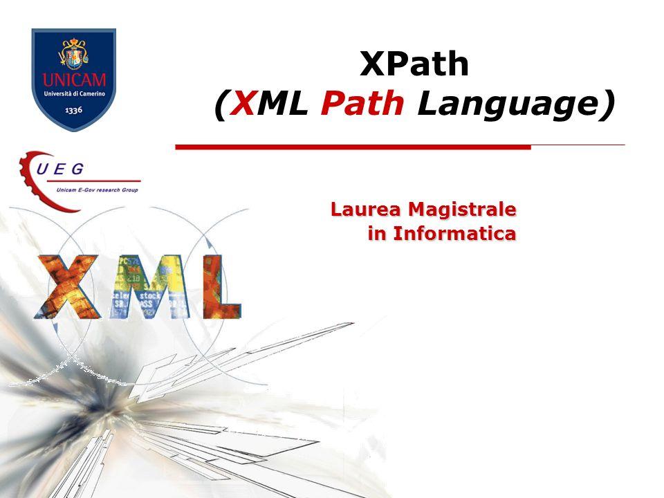XPath - XML Path Language12 Gli Assi Xpath (III) preceding Contiene tutti i nodi che si trovano prima quello corrente allinterno del documento, esclusi i suoi antenati (ancestors), gli attributi del nodo e i namespaces preceding-sibling Contiene tutti i nodi che hanno lo stesso livello di nidificazione nellelemento padre di quello corrente e sono posti prima di esso namespace Contiene i nodi namespace dichiarati per lelemento corrente.