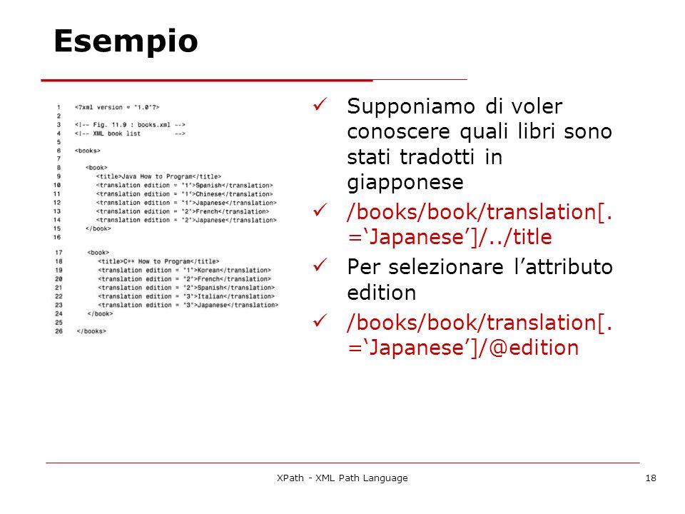 XPath - XML Path Language18 Esempio Supponiamo di voler conoscere quali libri sono stati tradotti in giapponese /books/book/translation[. =Japanese]/.