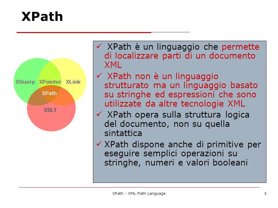 XPath - XML Path Language3 XPath XPath è un linguaggio che permette di localizzare parti di un documento XML XPath non è un linguaggio strutturato ma un linguaggio basato su stringhe ed espressioni che sono utilizzate da altre tecnologie XML XPath opera sulla struttura logica del documento, non su quella sintattica XPath dispone anche di primitive per eseguire semplici operazioni su stringhe, numeri e valori booleani