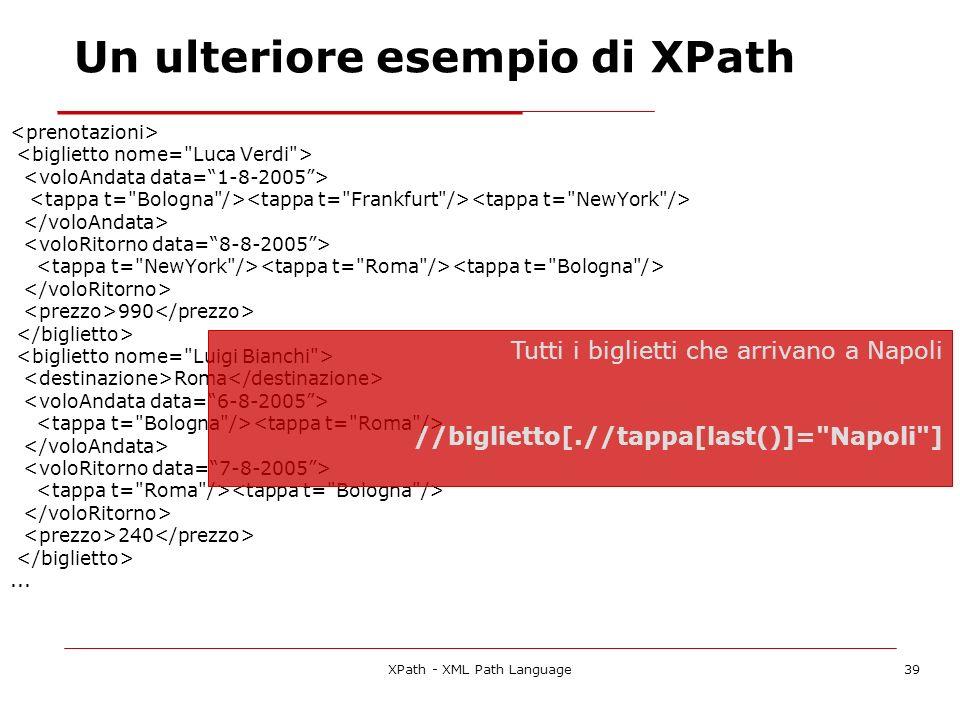XPath - XML Path Language39 990 Roma 240... Tutti i biglietti che arrivano a Napoli //biglietto[.//tappa[last()]=