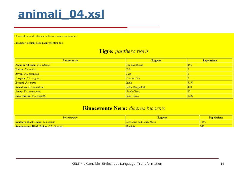 XSLT - eXtensible Stylesheet Language Transformation14 animali_04.xsl