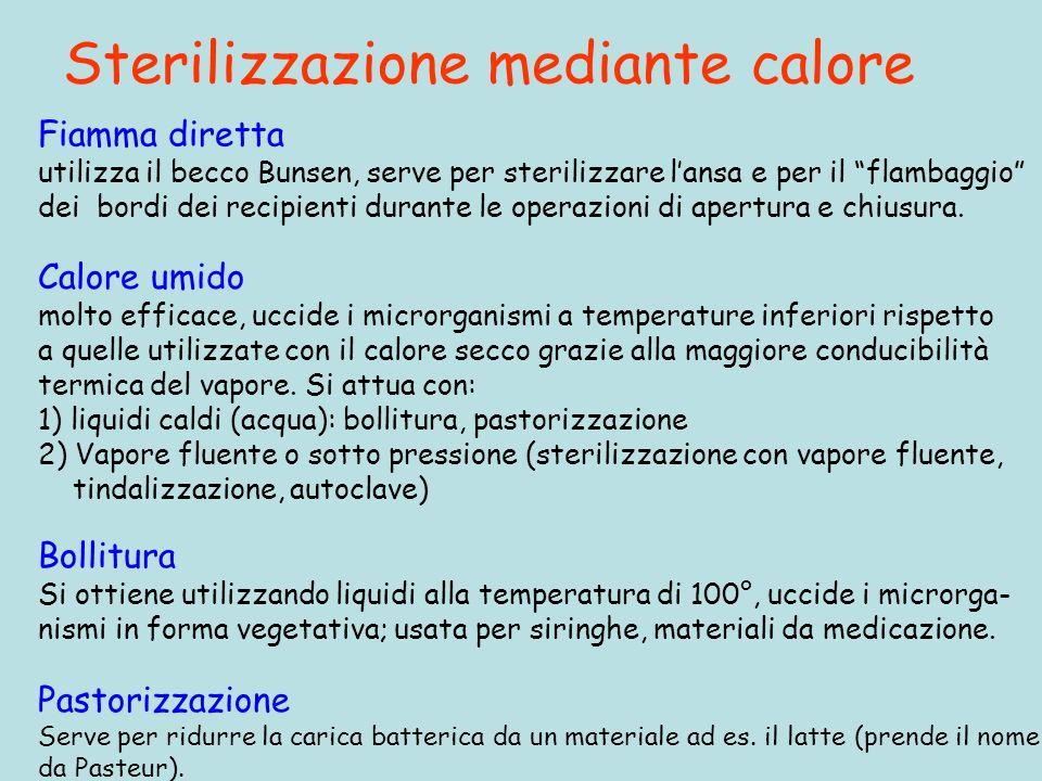 Sterilizzazione mediante calore Pastorizzazione Serve per ridurre la carica batterica da un materiale ad es. il latte (prende il nome da Pasteur). Fia