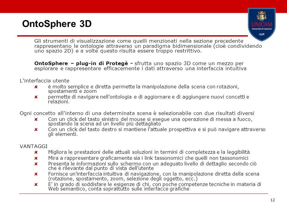 12 OntoSphere 3D Gli strumenti di visualizzazione come quelli menzionati nella sezione precedente rappresentano le ontologie attraverso un paradigma b