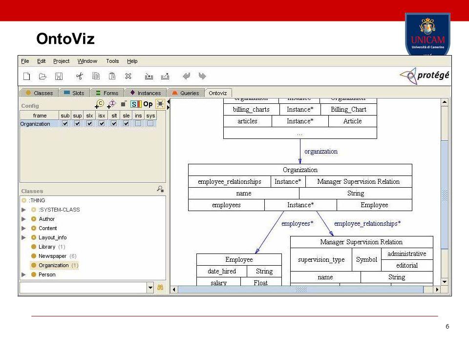 7 Jambalaya Jambalaya è un altro visualizzatore di ontologie per Protégé Vantaggi migliora Protégé con un grafico in grado di supportare l editing di ontologie Problemi Riduce al minimo le ottimizzazioni per l organizzazione del grafico Mantenere una buona comprensione della ontologia globale Mantenere un adeguato livello di dettaglio di un grafico Visualizzazione Comprende la nidificazione dei nodi basato su qualsiasi tipi di slot o di proprietà (o non nidificazione), inoltre la visualizzazione è basata su di un unico layout dotato di zoom Jambalaya comprende il filtraggio, la colorazione e lo stiling dei nodi e degli archi per tipo vari algoritmi di layout grafico Un vista animata del grafico dell ontologia facilita la navigazione anche in diversi livelli di astrazioni e dettaglio, sia per le classi che per le relazioni, pur mantenendo bassa la curva di apprendimento attraverso semplici zoom e link ipertestuali Tuttavia, le etichette del testo ed i simboli tendono a sovrapporsi quando l ontologia cresce in complessità ed è difficile capire le relazioni tra classi e/o istanze