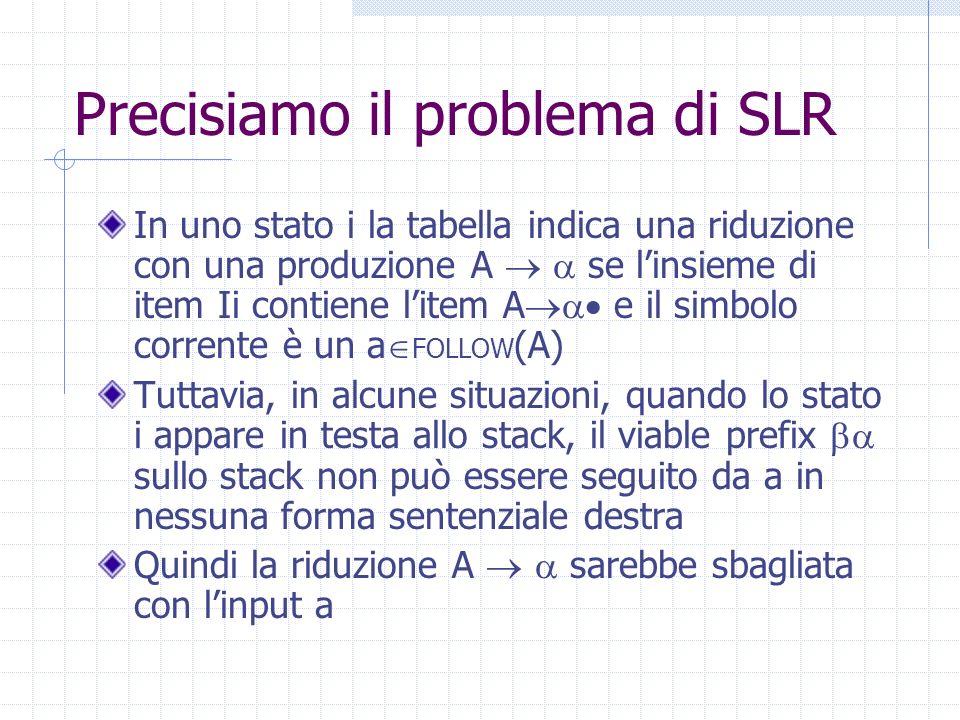 Precisiamo il problema di SLR In uno stato i la tabella indica una riduzione con una produzione A se linsieme di item Ii contiene litem A e il simbolo corrente è un a FOLLOW (A) Tuttavia, in alcune situazioni, quando lo stato i appare in testa allo stack, il viable prefix sullo stack non può essere seguito da a in nessuna forma sentenziale destra Quindi la riduzione A sarebbe sbagliata con linput a